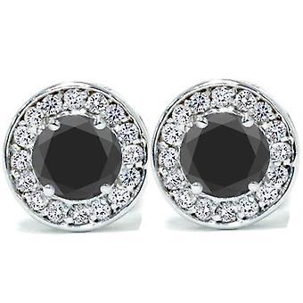 """5 / 8ct czarna idealna diament okrągły Halo stadniny 14K białe złoto 1/3"""""""