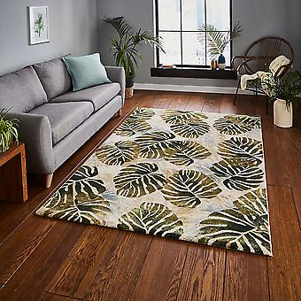 Trópicos 6097 retângulo verde creme tapetes Funky