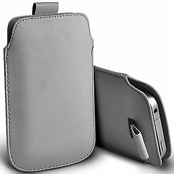 """For Sony Xperia XA1 Plus (5.5"""") - Premium Stylish Faux Leather Pull Tab Pouch Skin Case Cover (Grey) by i-Tronixs"""