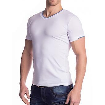 Mens t-skjorte v kort erme vneck strekke bomull skjorter slim fit elastisk (5 farger)