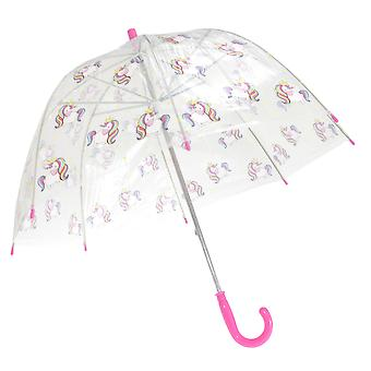 X-Brella Childrens/Kids Transparent Unicorn Themed Stick Umbrella