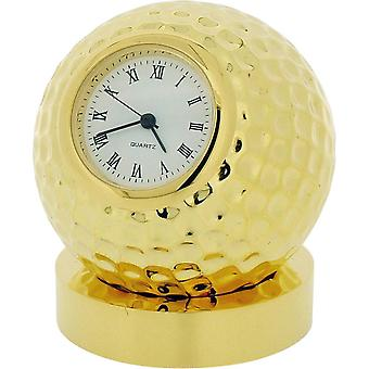 Gift Time Products Golf Ball on Stand Miniature Clock - Gold