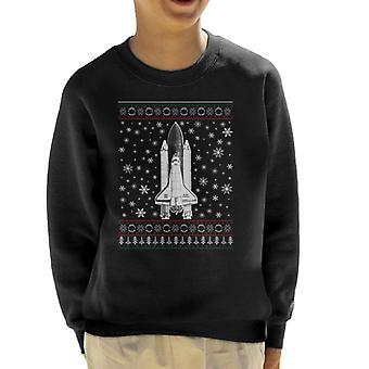 NASA Challenger Shuttle Christmas Knit Pattern Kid's Sweatshirt