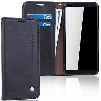 Cell phone cover case voor Samsung Galaxy A6 plus 2018 cover wallet Pouch zwart