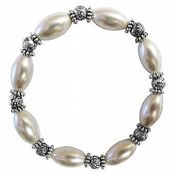 Damigella d'onore bianco ovale perle Bali argento bracciale estensibile