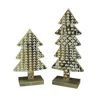 Rustic Decorated Standing Wood Trees Set of 2