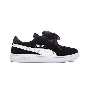Puma Smash V2 fiocco camoscio ragazze Junior Trainer scarpa nero/bianco