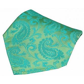 David Van Hagen Paisley Woven Silk mouchoir de poche - vert Jade