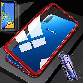 Voor Samsung Galaxy A50 6.4 inch magnetische metaal / glas Pouch Case rood / transparant + 0,26 mm H9 hard glas