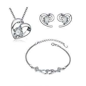 925 Sterling Silver Heart Necklace & Earring With Bracelet