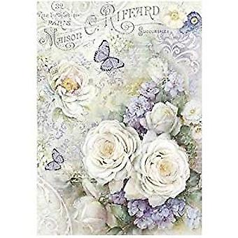 Stamperia Rice Paper A4 White roses & Lilac Butterflies (DFSA4229)
