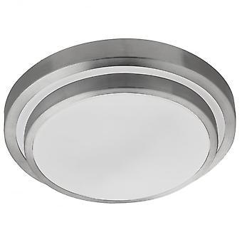 Zoeklicht badkamer LED IP44 2 Tier Flush met Aluminium Trim en witte schaduw