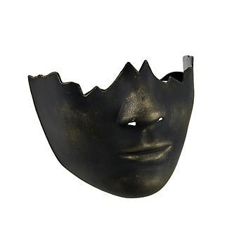 Sort og guld Finish Broken Doll Face Halv kostume Maske