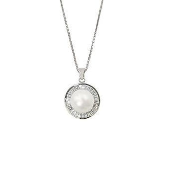 Eternal Collection Eminence AAA Freshwater Pearl And CZ Sterling Silver Pendant Necklace