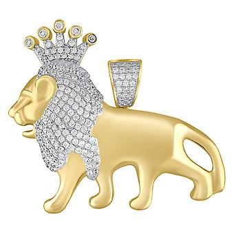 Premium Bling-925 Sterling Silver KING LION pendant gold