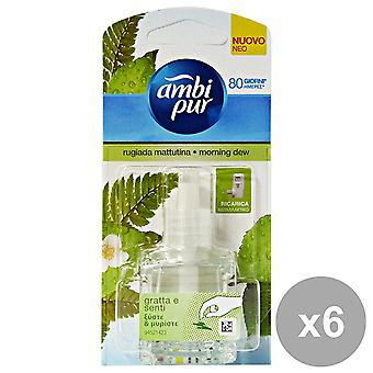 6 X 20Ml Ambi Pur Febreze Plug In Refill Air Freshener - Morning Dew