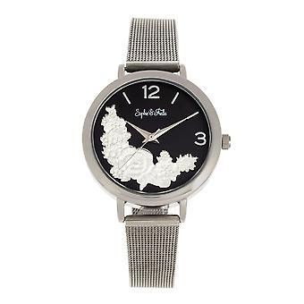 Sophie and Freda Lexington Bracelet Watch - Silver/Black