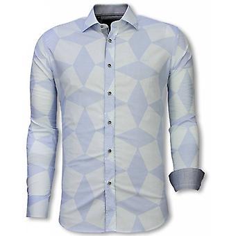 E Shirts - Slim Fit - Line Pattern - Light Blue