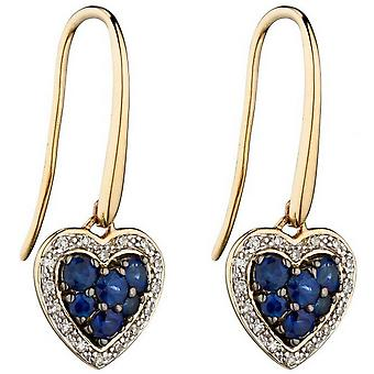 Elements Gold Sapphire and Diamond Heart Earrings - Blue/Gold/Silver