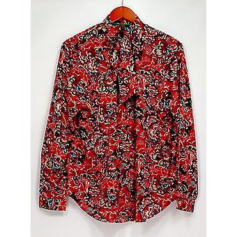 C. Wonder Women's Top Tie Neck Floral Print Button Front Red A280090