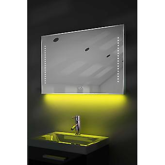 Digital Clock Slim Mirror with Under Lighting, Demist & Sensor k194w