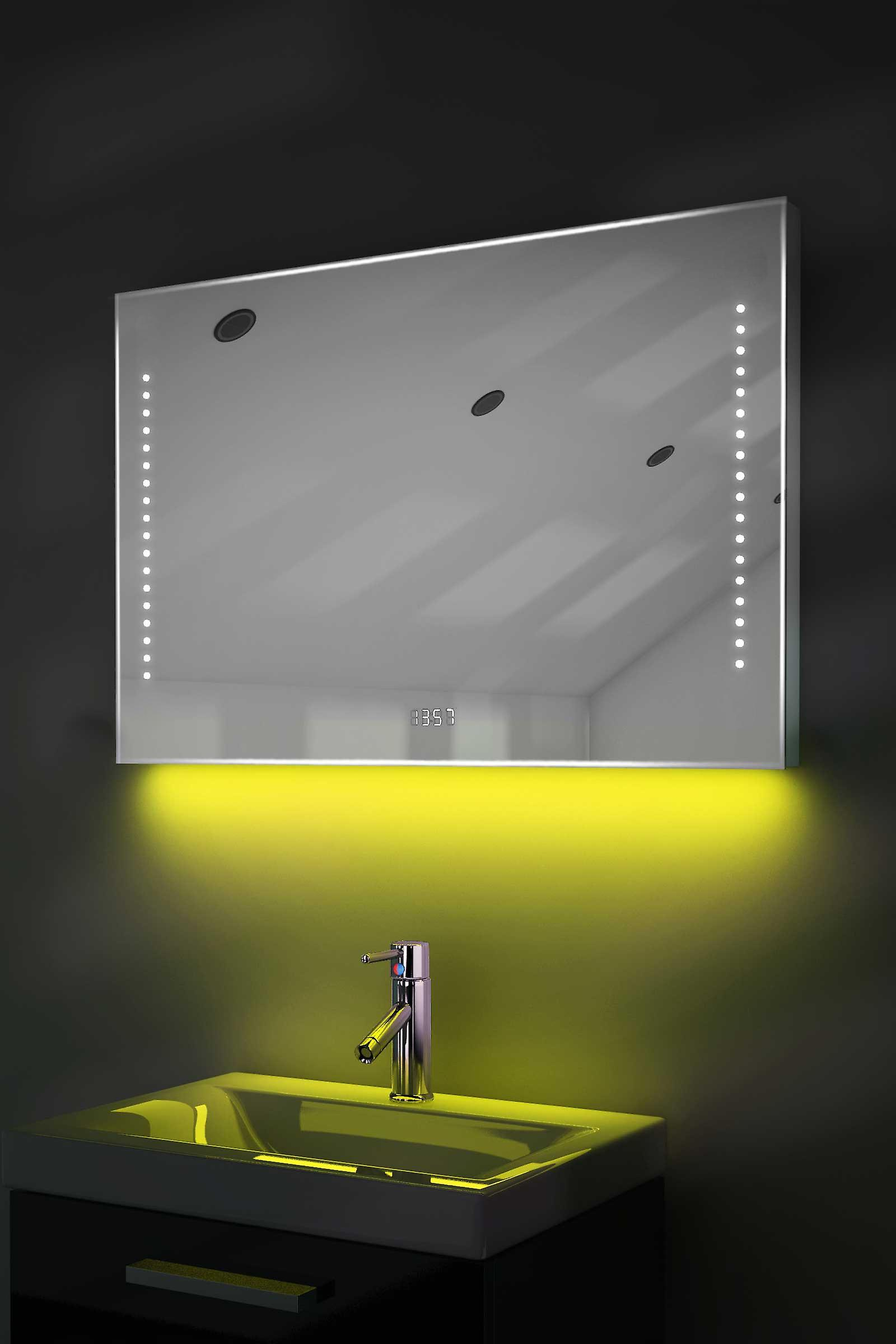 Digital Clock Slim Mirror with Under Lighting, Demist & Sensor k194w