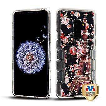 MYBAT transparant Clear/Parijs in volle bloei Diamante TUFF Panoview hybride Case voor Galaxy S9 plus