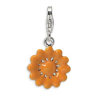 925 Sterling Silver Fancy Lobster Closure Yellow Enameled Flower With Lobster Clasp Charm Pendant Necklace Measures 28x1