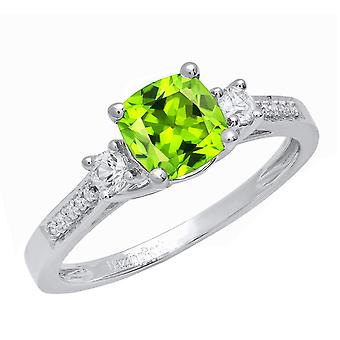 Dazzlingrock Collection 18K 6 MM Cushion Peridot, Round Sapphire et Diamond Ladies 3 Stone Ring, White Gold