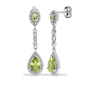 Jewelco London 9ct White Gold Claw Set Round H I1 0.19ct Diamond and Pear Green 2.9ct Peridot Happy Tears Drop Earrings