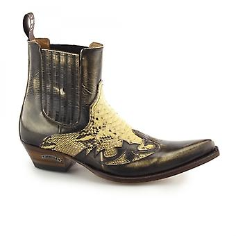 Sendra 9396 Mens Leather Pointed Cuban Heel Cowboy Boots Python
