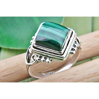 Malachite Ring 925 hopea Sterling hopea naisten rengas vihreä (MRI 67-10)
