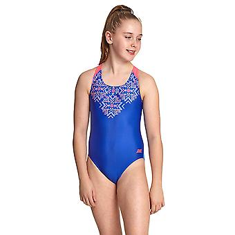 Zoggs Enchanted Girl's Flyback One Piece Swimsuit Blue / Multi Eco Fabric