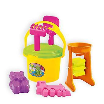 Mochtoys zand speelgoed set 5352 emmer, watermolen, zand mallen, hark, schop