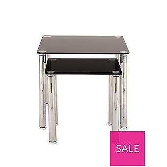 Darcy Chrome And Black Glass Nest Of 2 Tables RRP £55