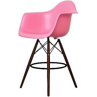 Charles Eames Style Pink Plastic Bar Stool With Arms - Walnut Legs