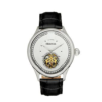 Heritor Automatic Hayward Semi-Skeleton Leather-Band Watch - Silver