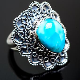 كبير لاريمار خاتم حجم 8 (925 الجنيه الاسترليني الفضة) -- اليدوية بوهو خمر مجوهرات RING995798