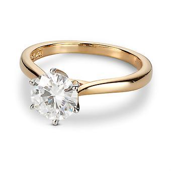 14K oro amarillo para siempre un anillo de compromiso de solitario redondo de 7,5 mm, 1,50 cttw DEW (D-E-F)