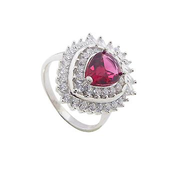 Silver zirconia ring with synthetic ruby