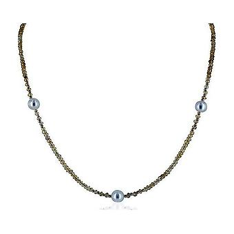 Luna-Pearls gemstone necklace citrine with 3 freshwater pearls 7.5-8mm 585 GG 1022365