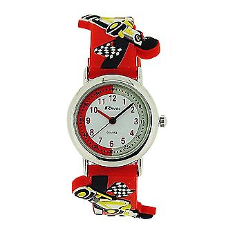 Ravel Racing Car Time Teacher White Dial Kids Red Rubber Strap Watch R1513.31R