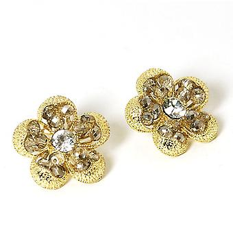 Peace of Mind Goldtone Flower Stud Earrings with Glass Beads