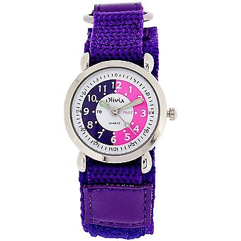 The Olivia Collection Time Teacher Purple Easy Fasten Watch +Telling Time Award