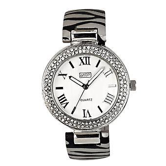 Eton Womens Zebra Print Clip op Bangle Watch, Silk Finish - 3191J-ZB