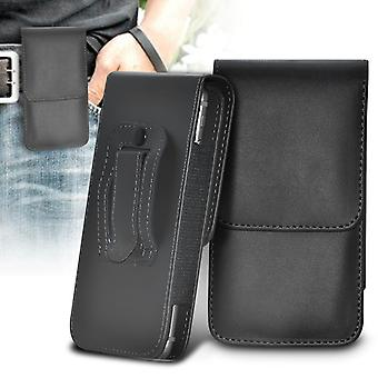 (Black) Obi MV1 Case High Quality Faux Leather Vertical Executive Pouch Holster Belt Clip Cover Case