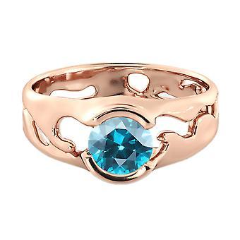 1,00 CT blauer Topas Ring 14K Rose Gold einzigartige Solitär-Designer