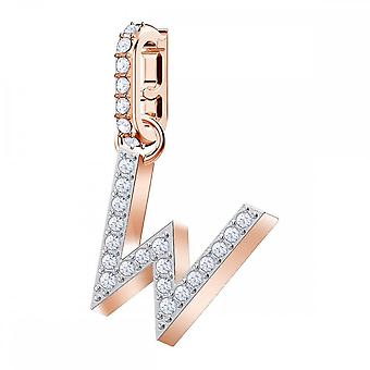 Swarovski Remix Rose Gold Tone Plated & White Crystal Letter W Charm
