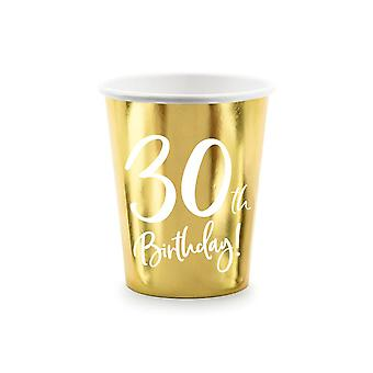 30th Birthday Gold Paper Party Cups Decorations x 6