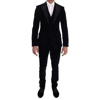 Dolce & Gabbana Black Velvet Slim Floral Embroidered Suit -- KOS1900592